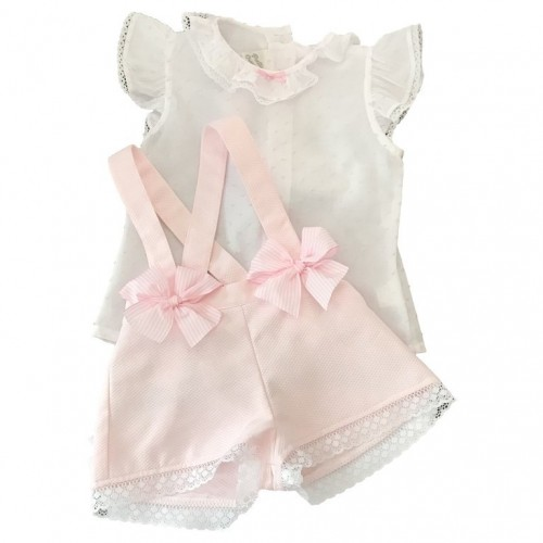 Pink & White Bow Dungarees Set